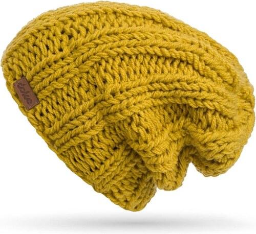 Hořčičně žlutá ručně pletená čepice DOKE Mina - Glami.cz a2f280532c