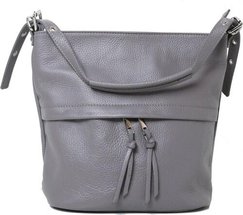 53a19f948270 -17% Talianske dámske crossbody kožené kabelky Vera Pelle tmavo sivé Angola