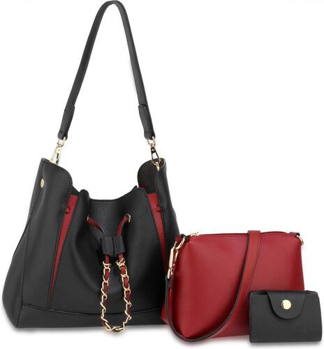 05083669b8 Anna Grace (Anglie) Černo-červený set 3v1  kabelka na rameno + crossbody