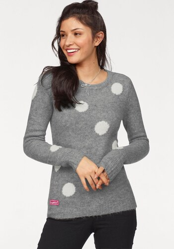 KangaROOS pletený svetr šedá-bílá-puntíky - Glami.cz b05b54763b
