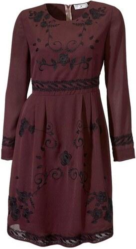 Rick Cardona Šifónové šaty bordó s čiernou výšivkou - Glami.sk efff5c8634e