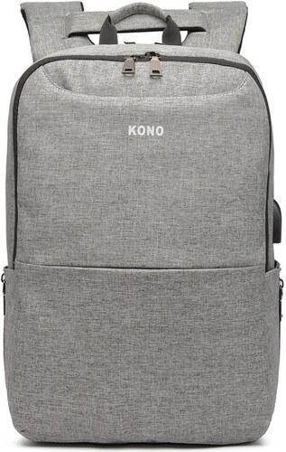 Kono Multifunkční nepromokavý pánský batoh s USB portem - šedý ... e6e8f47a1f