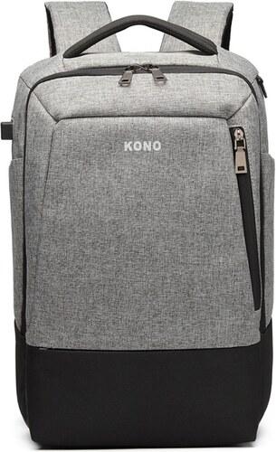 Kono Multifunkční nepromokavý pánský batoh s USB portem - šedo-černý ... 9c7abacc86