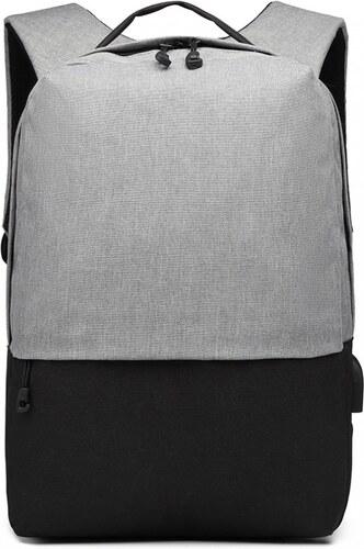 KONO šedo-černý elegantní batoh nepromokavý s USB portem UNISEX ... 78c2762b62