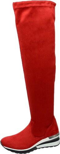 OLIVIA SHOES Červené vysoké čižmy nad kolená DCI029 1 Angel - Glami.sk 58f408e71e6