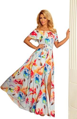 03514154c9a4 Numoco Dlhé šaty s hispánskym dekoltom a maľovanými kvetmi 194-1 ...