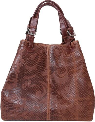 b99cdc6d0127 TALIANSKE Talianska veľká kožená kabelka hnedá Vanda k denimu - Glami.sk
