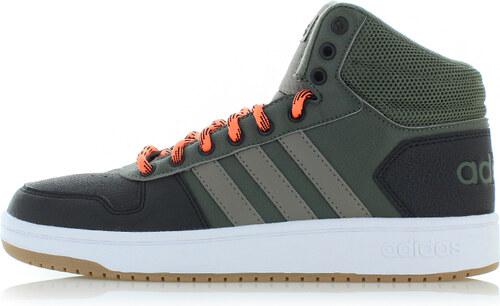 2ad99ad7c43 adidas CORE Pánské černo-zelené kotníkové tenisky Hoops 2.0 Mid ...