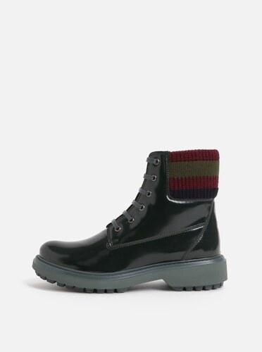 8b0859818c0 Tmavě zelené dámské kotníkové boty s úpletovým lemem Geox Asheely ...