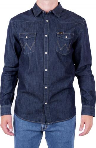 Pánská košile WRANGLER W5973O7WE RINSE INDIGO Modrá - Glami.cz 860471294a
