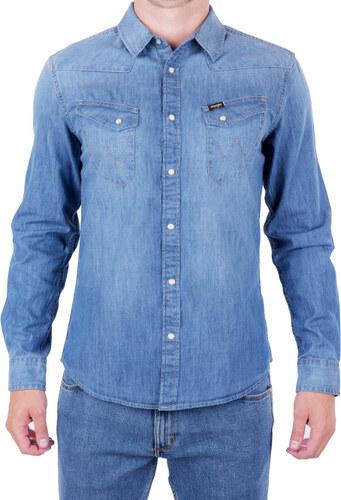 Pánská košile WRANGLER W5974O7UE INDIGO Modrá - Glami.cz 7b6af7d24e