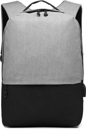 c2acba4cb2f Kono Šedo-černý elegantní batoh nepromokavý s USB portem UNISEX ...