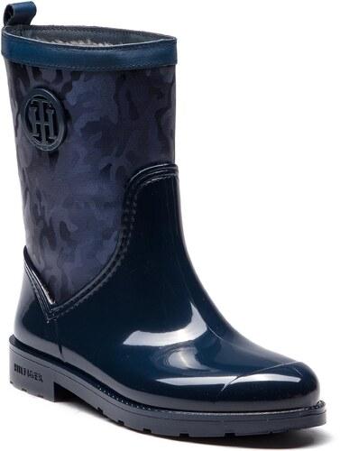 Gumicsizmák TOMMY HILFIGER - Shiny Camo Rain Boot FW0FW03318 Tommy Navy 406 1299dadffa