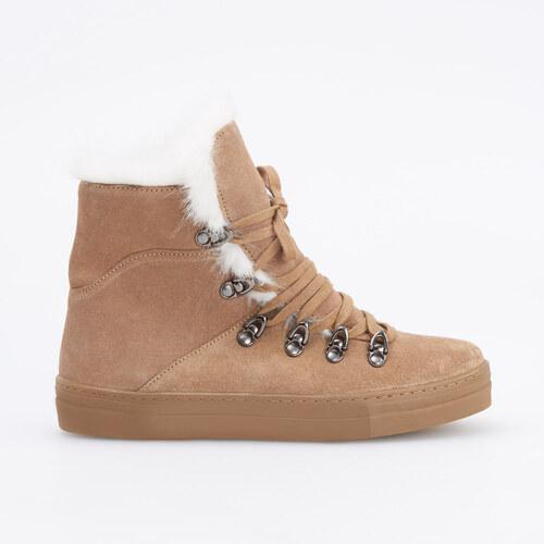 Reserved - Zateplené kožené topánky - Béžová - Glami.sk a4ebdff2d7f