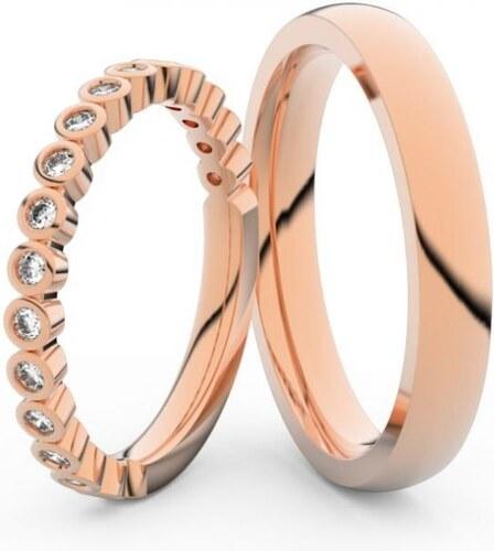 Snubni Prsteny Z Ruzoveho Zlata S Brilianty Par Danfil Df 3899