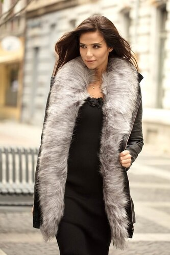 4d4017acaab8 MODANOEMI Dámska štýlová čierna koženková bunda so sivou kožušinou ...
