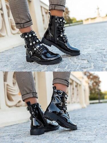 f8f03266ae3a MODANOEMI Lakované topánky s prackami a perličkami MNA3361YC - Glami.sk
