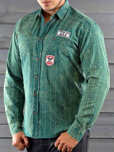 a3ad13025bb MODANOEMI Pánská zelená košile MNE4308 - Glami.cz