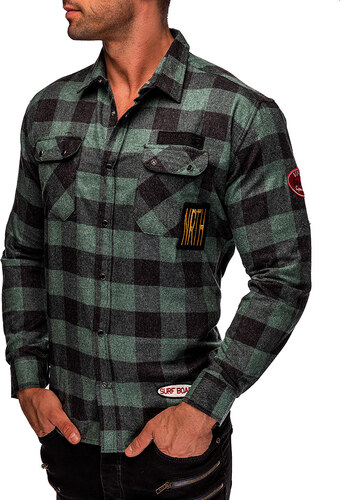MODANOEMI Pánská zelená košile s nášivkami MNE2503C - Glami.cz 252dffffaf
