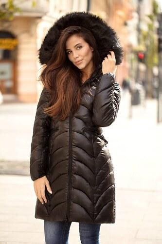 -42% MODANOEMI Štýlová čierna dlhá prešívaná zimná bunda s kožušinkou e08e4250d9b