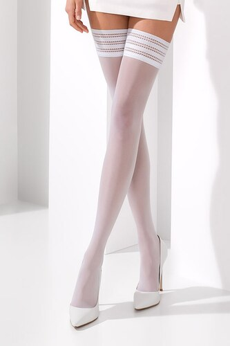 Passion Samodržící punčochy Claine white bílá - Glami.cz 2ef953baab