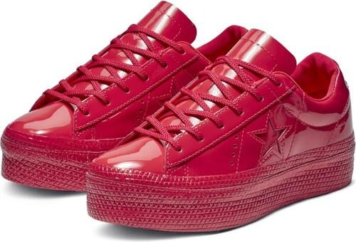 Converse červené lesklé tenisky na platforme One Star OX Cherry Red ... d182bd5dbc