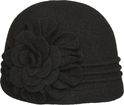 40b3f789382 TONAK Černý dámský vlněný klobouk s květinou Neel 32 - Glami.cz