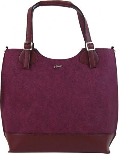 Vínová dámská shopper kabelka s bordovými doplňky S581 GROSSO - Glami.cz 0ec409ccb9c