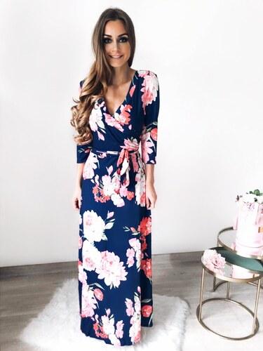 3a67e2b6acc8 ZAZZA Dlhé modré kvetinové šaty - Glami.sk