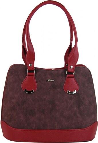 003173a506 Červeno-bordová dámska kabelka cez rameno S324 GROSSO - Glami.sk