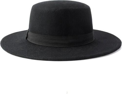 bcb8ad8387a Vlněný klobouk s pevnou krempou černý Ystrdy - Glami.cz