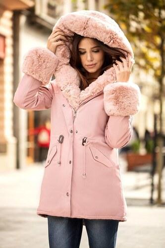 cf1aace4876a -10% MODANOEMI Teplá luxusná ružová zimná bunda s bohatou kožušinou