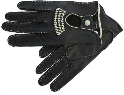 ND Pánské luxusní kožené řidičské rukavice 1433P černé s béžovým štepováním abe8bae337