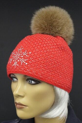 1f8ad04c9ac R-Jet Červená zimní pletená čepice s kožešinovou bambulí 0534 - Glami.cz