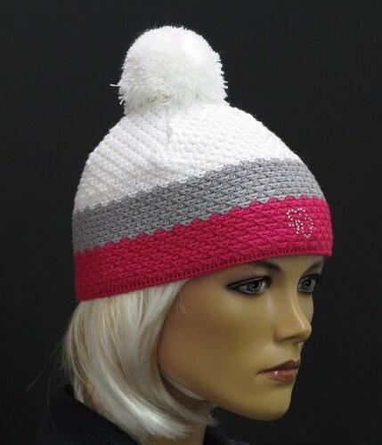40b613c771c R-Jet Barevná dětská zimní pletená čepice s bambulí - růžová šedá bílá