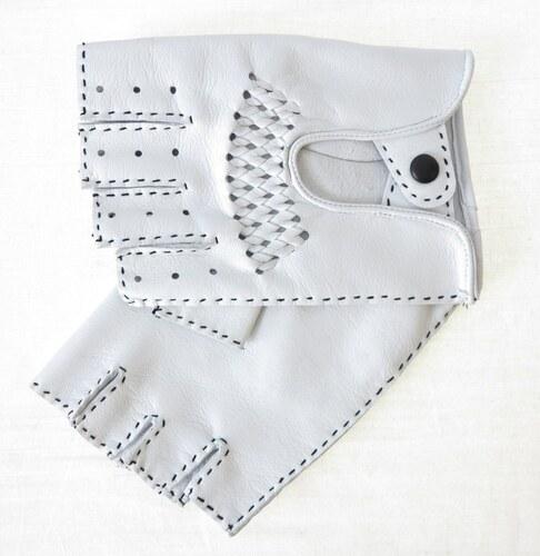 ND Pánské luxusní kožené řidičské rukavice 1433BP bezprsté bílé s výpletem be42ad95e0