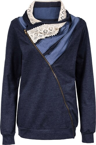 4a22ceb3b648d John Baner JEANSWEAR Bonprix - Gilet sweat-shirt bleu manches longues pour  femme