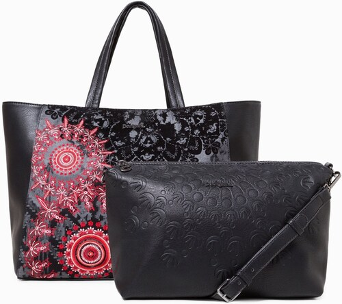 Desigual čierna kabelka s červeným vzorom Red Queen Cuenca - Glami.sk 00411b68c61
