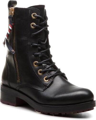 2a181ce1d6 Členková obuv TOMMY HILFIGER - Corporate Tassel Bik FW0FW03585 Black ...