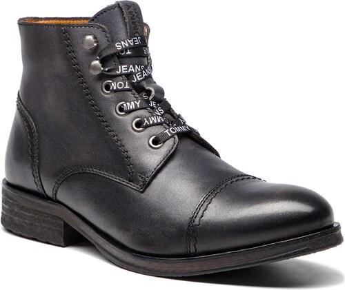 25982e00f1f7 Outdoorová obuv TOMMY JEANS - Dressy Leather Lace EM0EM00136 Dark Shadow 028