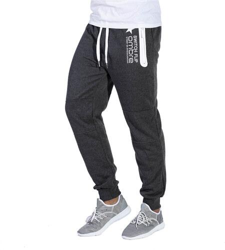 Ombre Clothing Pánské tepláky s kapsami na zip Circuit grafitové ... 17b8dc731d