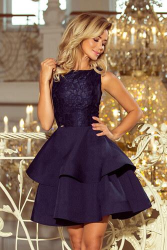 0d9cd6d8d NUMOCO Elegantné tmavo modré šaty LAURA 205-3 - Glami.sk