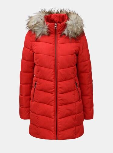 Červený prešívaný kabát s umelou kožušinkou ONLY - Glami.sk 5bf22df4dfb