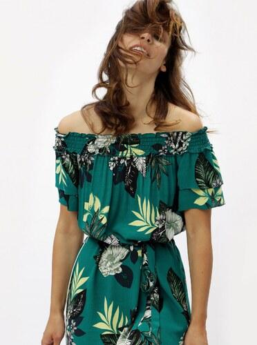 963a39567494 Zelené kvetované šaty s odhalenými ramenami Dorothy Perkins - Glami.sk