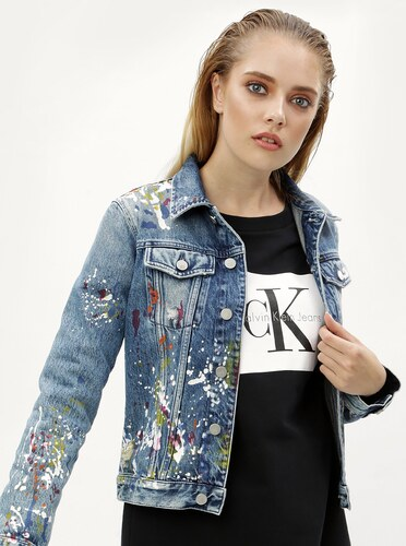 Modrá dámska rifľová bunda s potlačou Calvin Klein Jeans - Glami.sk 9c33e5cb30c
