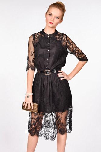 0620931f277e iné Čierne čipkované šaty s opaskom - Glami.sk