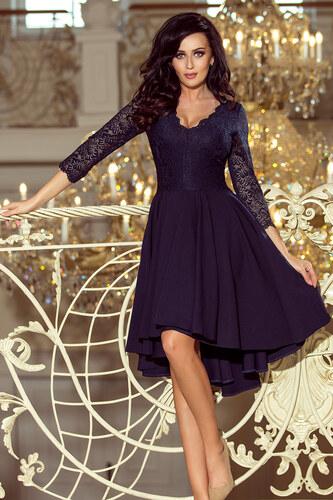 a4ba3add0 NUMOCO (Veľ. XL) Tmavo modré šaty NICOLLE s čipkovanými rukávmi 210 ...