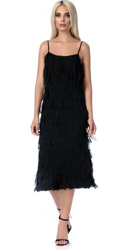 Fekete StarShinerS midi ruha egyenes szabás pántokkal - Glami.hu 9227bc21f6