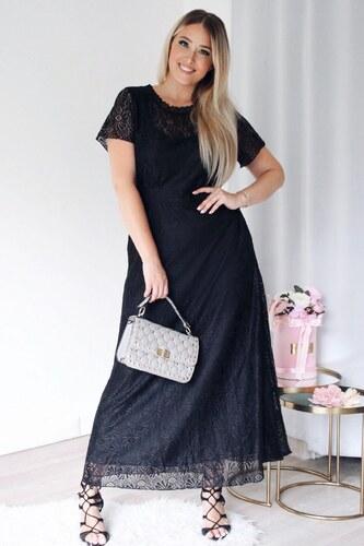 53615b0ad5ae ZAZZA Dlhé čierne čipkované šaty - Glami.sk