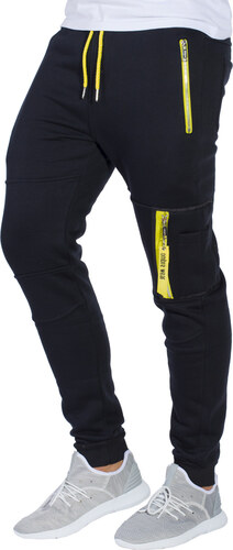 Ombre Clothing Pánské tepláky s kapsami na zip Frankie černé - Glami.cz 6317aaf224